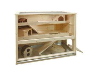 Luxus Hamsterkäfig aus Holz von Elmato von vorne