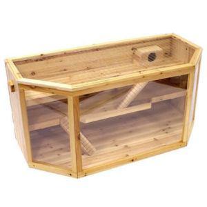 Hamsterkäfig von Happypet aus Holz von vorne