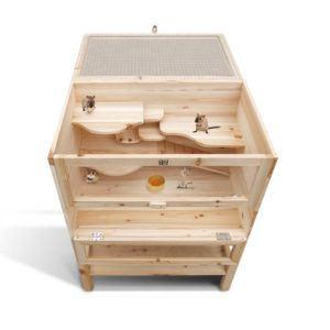 Hamsterkäfig XXL Holz Serina vorderansicht von oben
